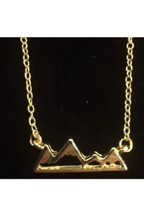 Briony Gold Plated Flat Mountain Snowflaked Jewellery Necklace
