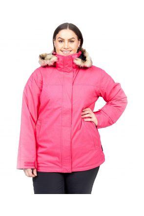 Cartel Soho Womens Plus Size Ski Jacket Pink Heather Sizes 18-26 FRONT