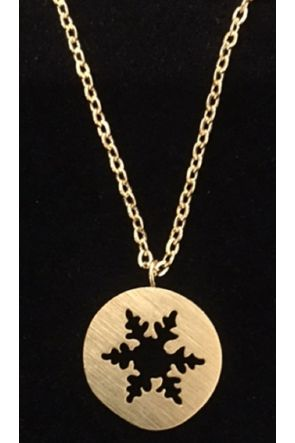 Lisa Gold Plated Flat Snowflake Cut out Necklace