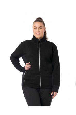 Raiski Muscovy Black Waffle Warm Ladies Thermal Zip Top Plus Size Front