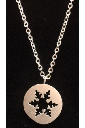 Terryn Silver Plated Flat Snowflake Cut out Necklace