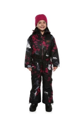 XTM Akira Kids Snow Suit All in one Black Foral Front