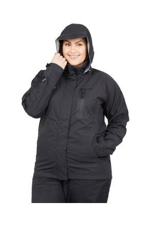 XTM Feathertop Womens Plus Size RAIN Jacket Black Sizes 18-26 front