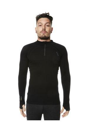 XTM Merino Wool Mens Thermal Zip Neck Top Black Front
