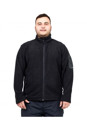 XTM Wildcat Mens Plus Size Fleece Zip Jacket Black Sizes 3XL-7XL FRONT