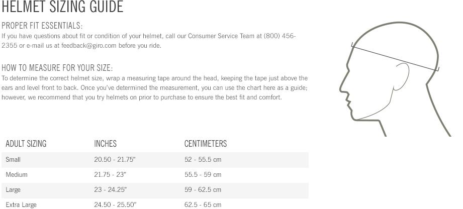 Giro Helmet Size Chart Guide