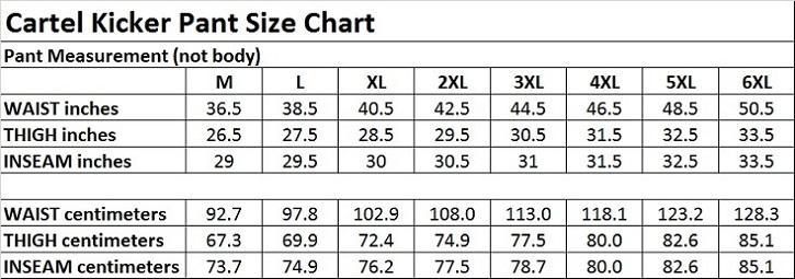 Kicker Cartel Snow Ski Snowboard Pant Size Chart