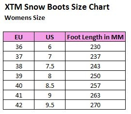XTM Womens Boots Size Chart