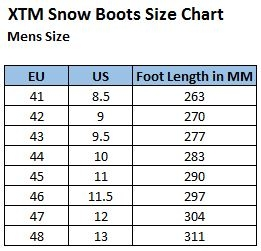 XTM Mens Boot Size Chart