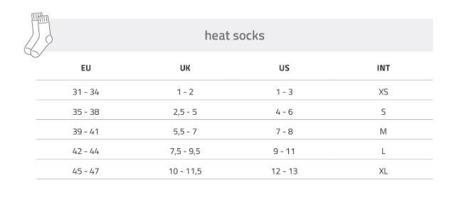 Lenz Heat Socks Size Chart