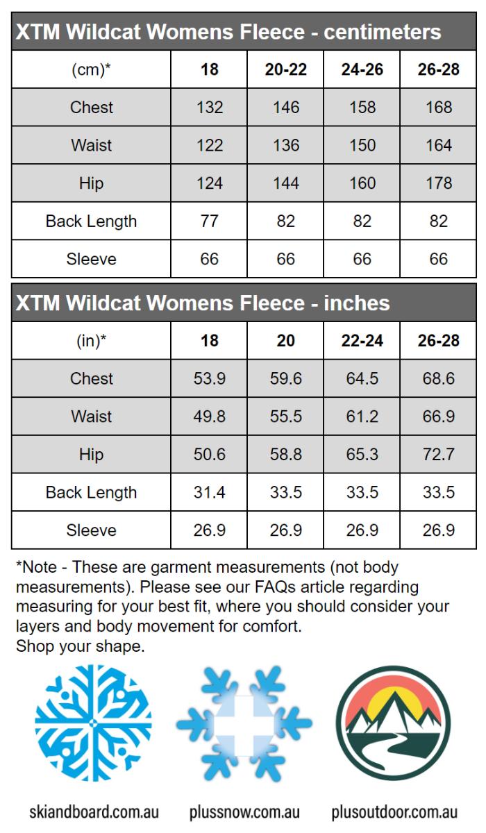 XTM Wildcat Ladies Plus Size Fleece Zip Jacket Shiraz Sizes 18-26 size chart snip
