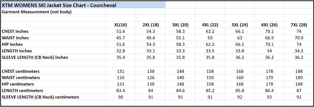 XTM Courcheval Size Chart New Plus Size Womens Winter Jacket