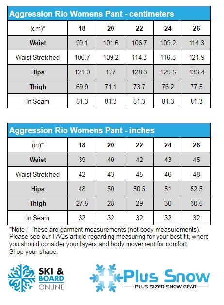 Aggression Rio Soft Shell Snow Pants Measurement Chart