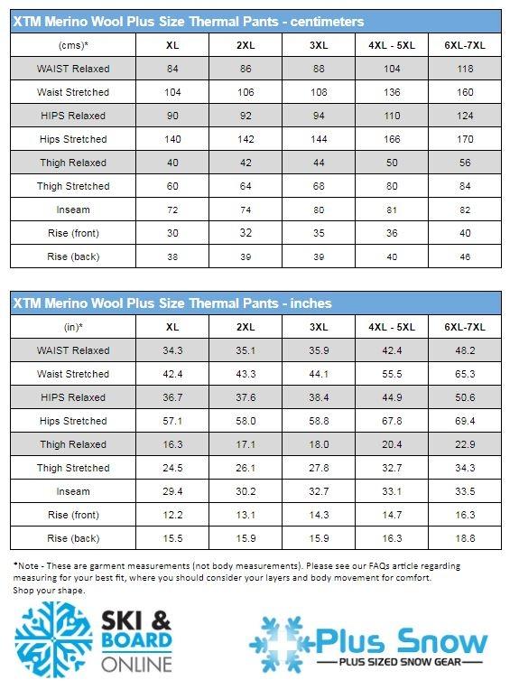 XTM Merino Plus Size Thermal Pants Size Chart